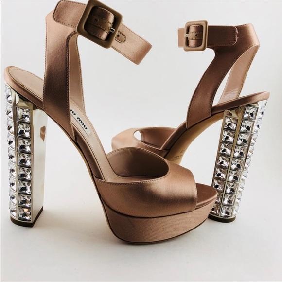 2284a2cb6e59 Miu Miu Crystal Heel Ankle Wrap Heel.